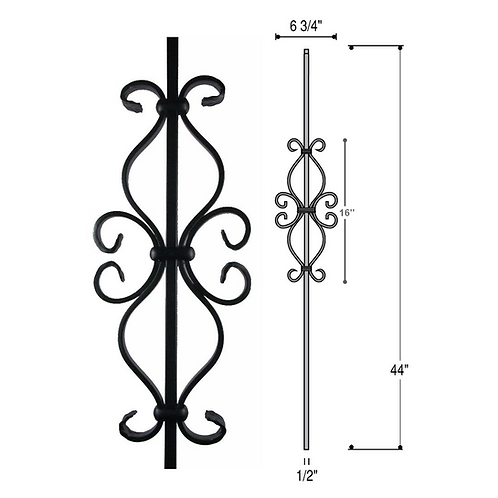 Hourglass Scroll Iron Baluster