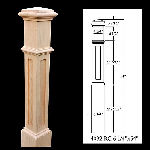 4092 Recessed Panel 6'' x 55-1/2'' Red Oak Box Newel