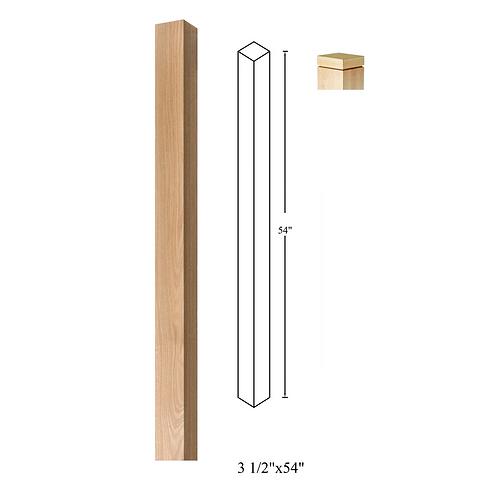 3-1/2'' x 54'' Red Oak Blank Newel Post