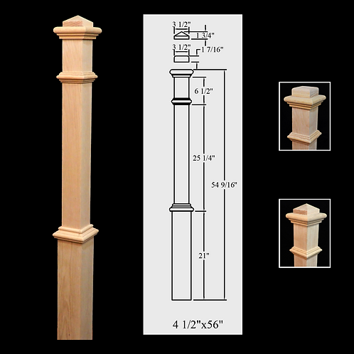 961 Plain 4 1/2''x 56'' Red Oak Newel Post