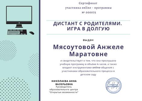 Сертификат участника online-программы №