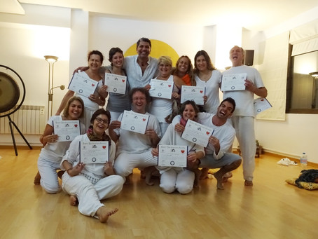 Beautiful Group of people becoming Laughter Yoga Leaders in Barcelona