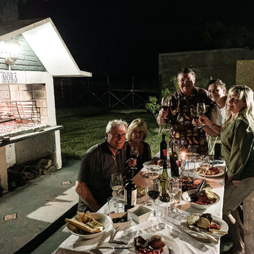 Typical Uruguayan ASADO with wines from the region