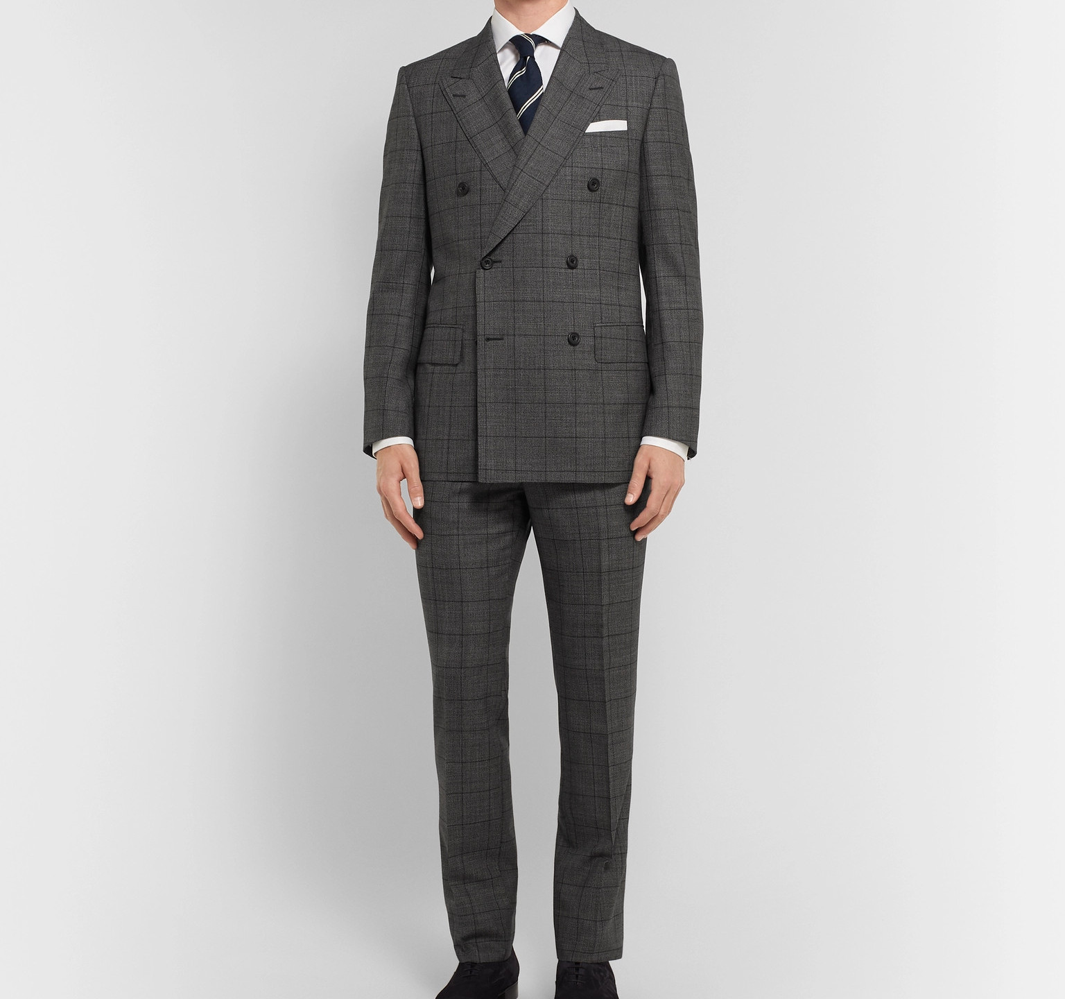 Grey Slim-Fit Double-Breasted Prince Of Wales Checked Wool Suit Jacket