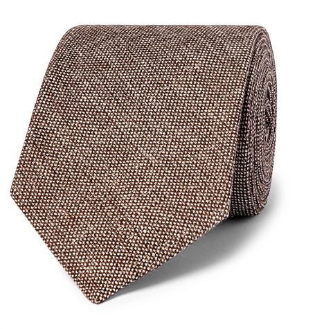 Drake's 8cm Mélange Linen And Silk-Blend Tie