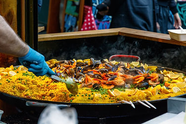 Seafood paella sold at Borough Market in