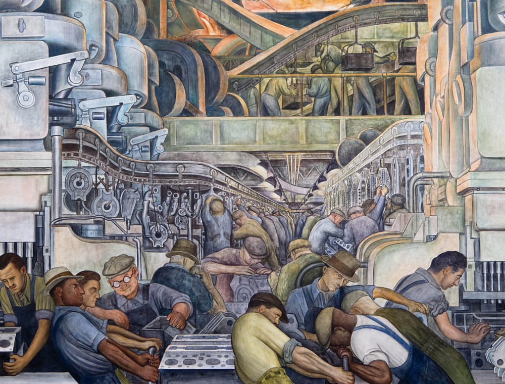 A detail from the north wall of Diego Rivera's Detroit Industry murals shows workers on the automobile assembly line.