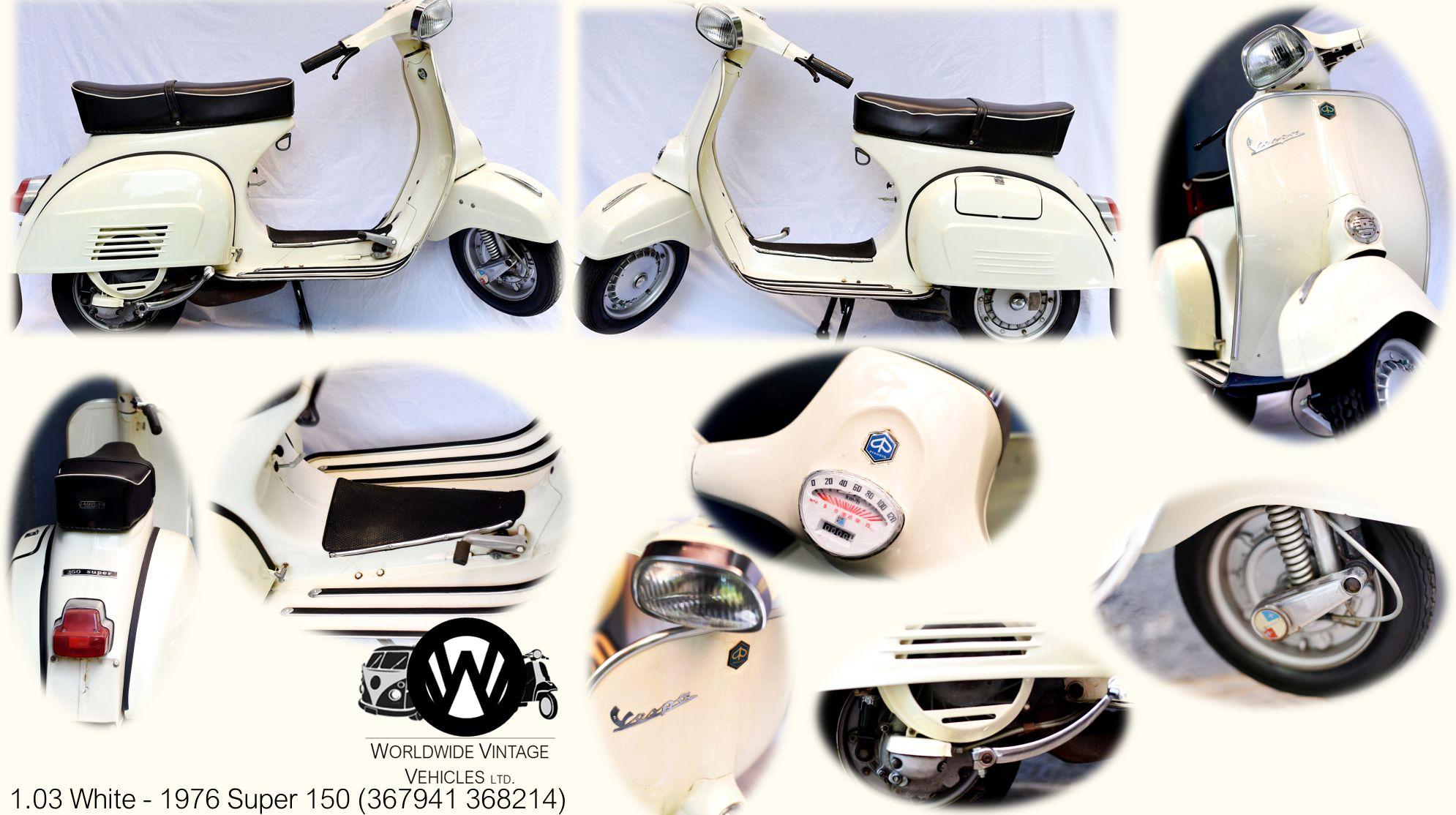 3 1976 White Vespa Super 150 Worldwide Vintage Vehicles