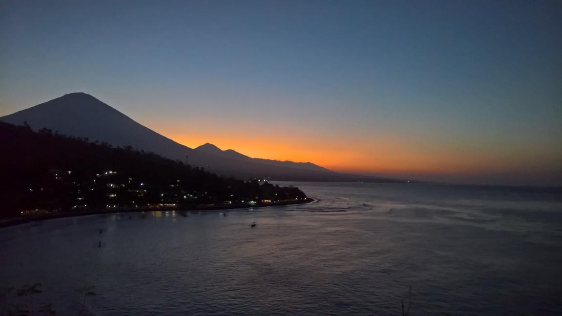 Sunset behing Agung