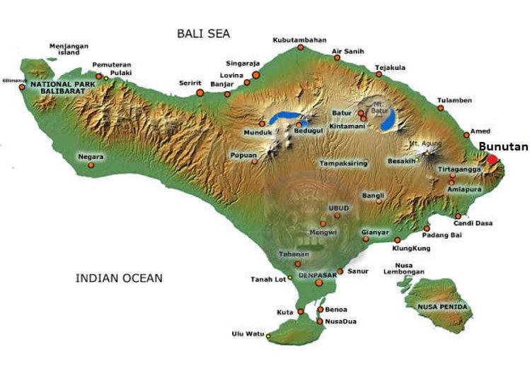 Bali map Bunutan