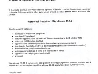 ASSEMBLEA STRAORDINARIA STAGIONE 2019-2020