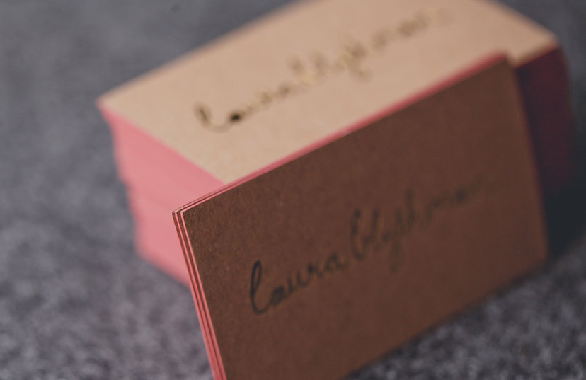 printed by Stitch Press | stitchpress.com.au | gold foil press with pink edge painting business card