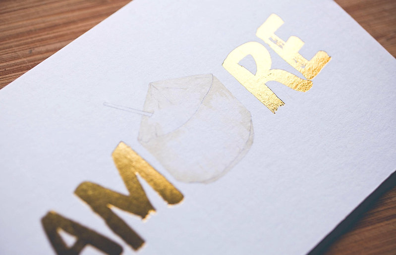 "printed by Stitch Press | stitchpress.com.au | ""amore"" gold foil greeting card"