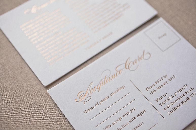 foil-press, foiling wedding invitation, Melbourne foiling, foil stamping Melbourne, foiling wedding stationery