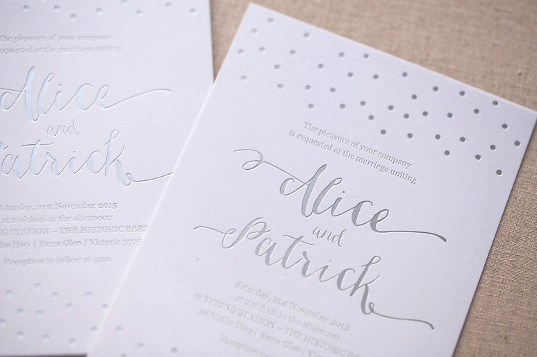 printed by Stitch Press | stitchpress.com.au | matte silver foil press invitation
