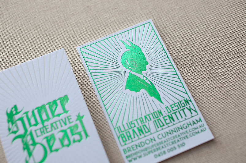 super creative beast | business card | clear foil / green foil