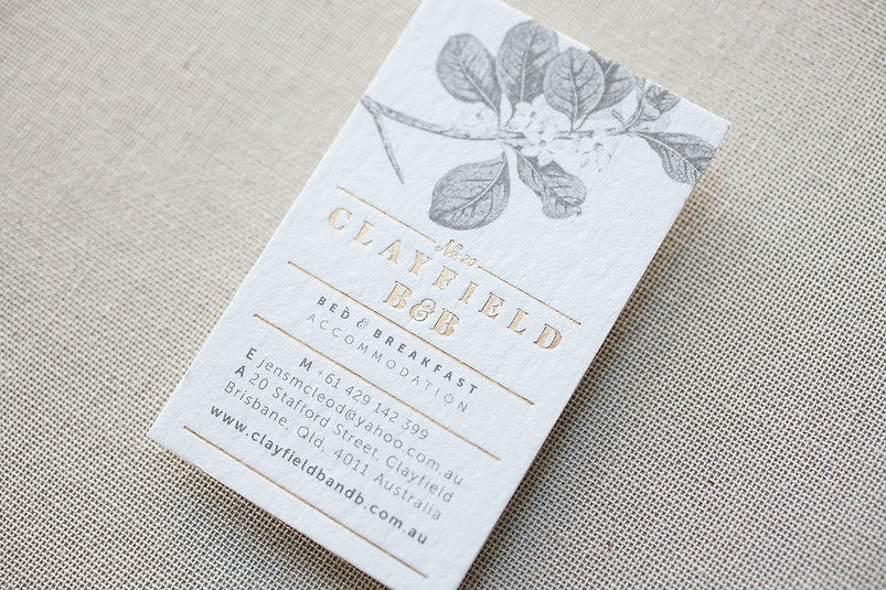 clayfield b&b business card | matte gold foiling