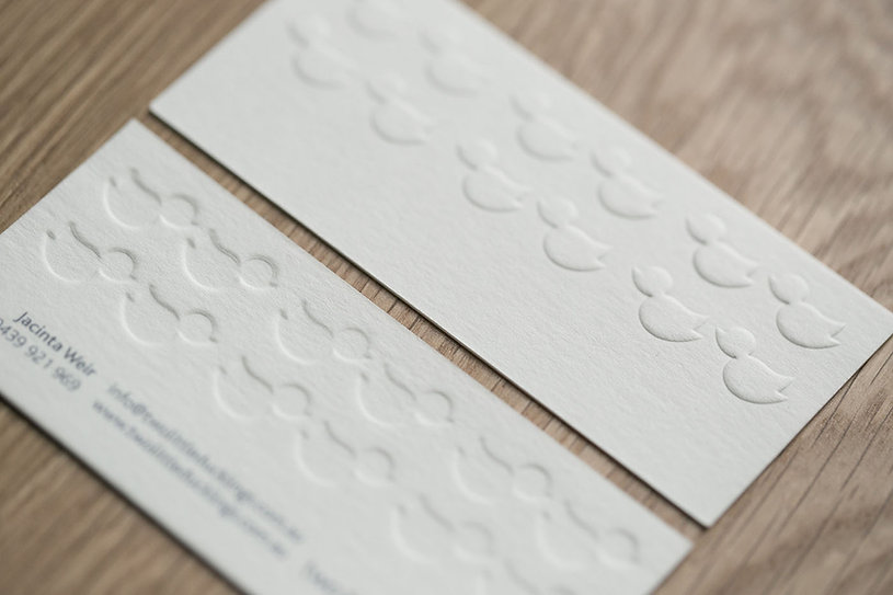 Two Little Duckings | blind emboss business cards