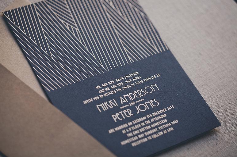 printed by Stitch Press | stitchpress.com.au | matte gold foil pressed invitation, gold foil on black