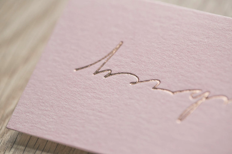 printed by Stitch Press | stitchpress.com.au | Pink base with rose gold foil business card