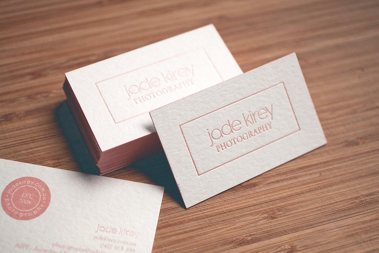 printed by Stitch Press | stitchpress.com.au | pearl pink foil with pink edge painting business card