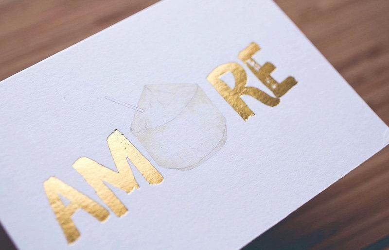 "printed by Stitch Press   stitchpress.com.au   ""amore"" gold foil greeting card"