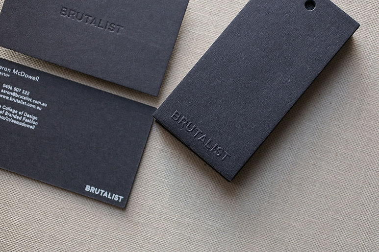 printed by Stitch Press | stitchpress.com.au | blind emboss tags & blind deboss business card