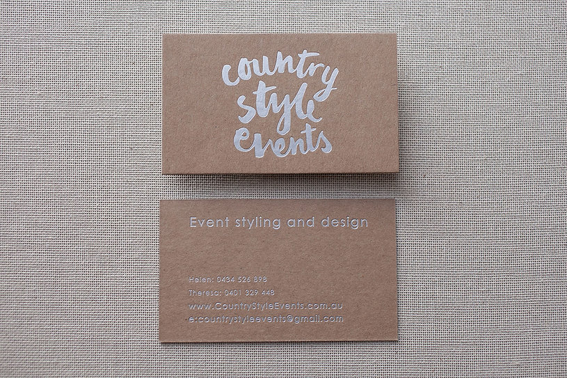 country style events | matte silver foil on kraft card