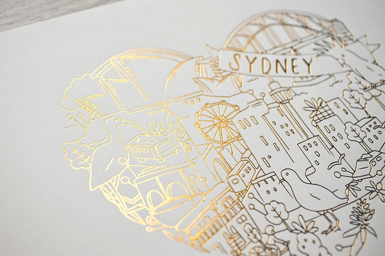 "printed by Stitch Press | stitchpress.com.au | gloss gold foil art print ""sydney"""