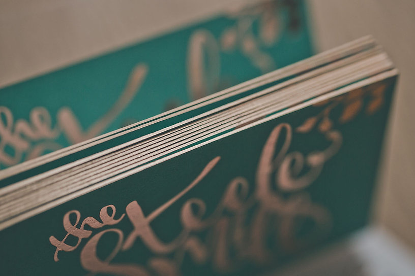 the steele mill | rose gold foil | rose gold edge-foiling