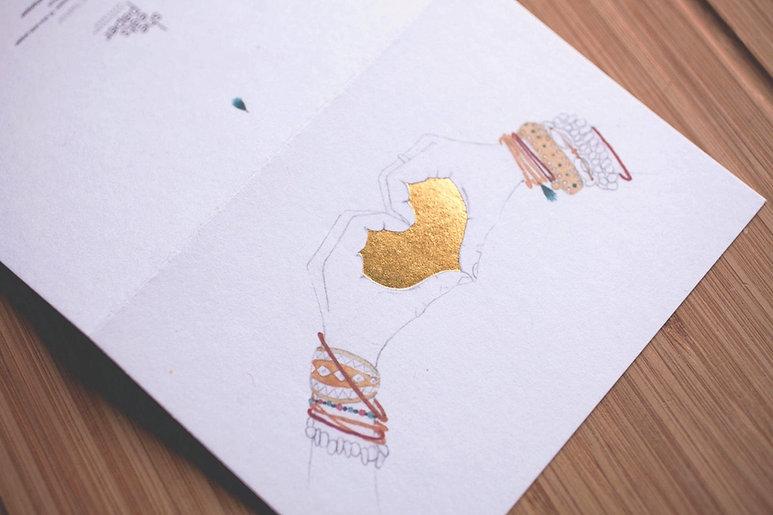 "printed by Stitch Press   stitchpress.com.au   ""heart"" gold foil greeting card"