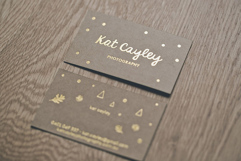 Kate Cayley | kraft card | gloss gold foil-press | edge painting
