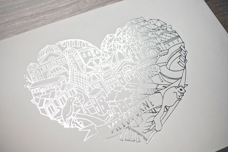 "printed by Stitch Press | stitchpress.com.au | gloss silver foil art print ""melbourne"""