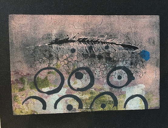 "FEATHER & CIRCLES  (6.5"" x 9.5"")"
