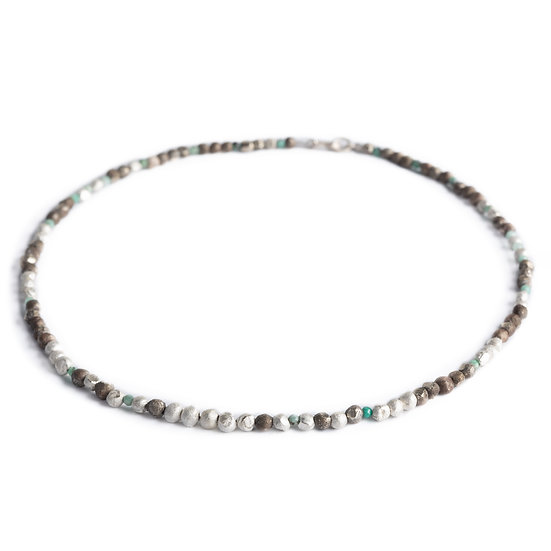 EMERALD LAGOON - faceted emerald, white bronze and sterling silver beads