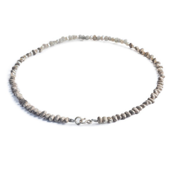 PEBBLES - rough diamond, freshwater pearl & sterling silver beads