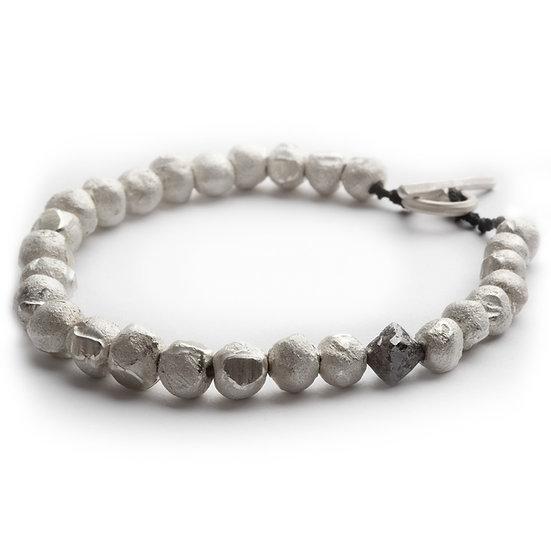 HADI - rough diamond and handmade sterling silver beaded bracelet