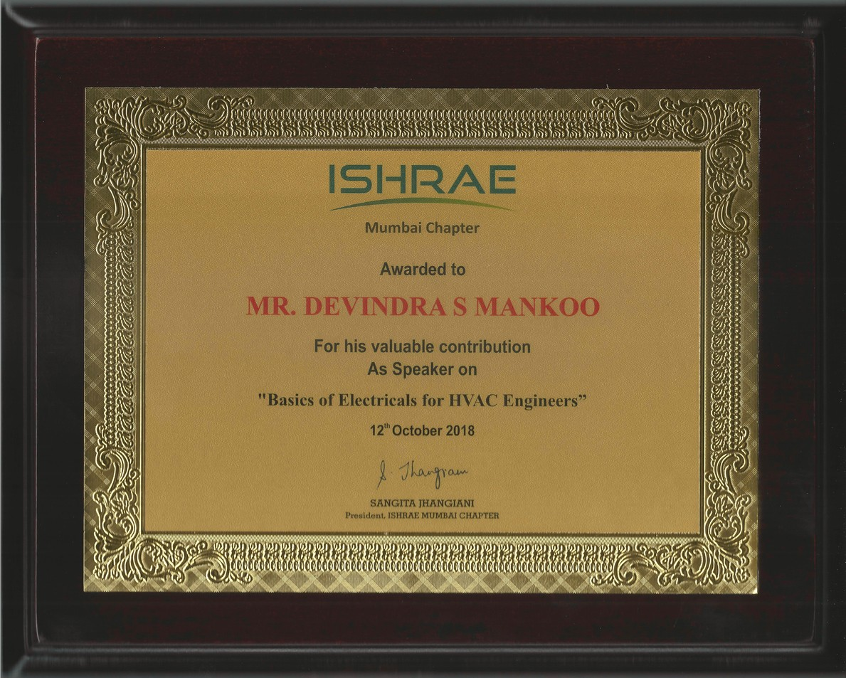 ISHRAE Recognition for Devindra Singh