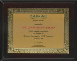 ISHRAE Recognition for Devindra Singh