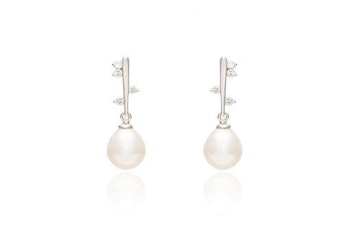 Silver Fresh Water Pearl Drop Earring