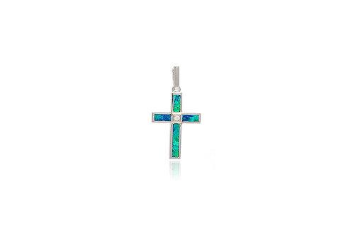 Sterling Silver Doublet Opal Cubic Zirconia Cross Pendant