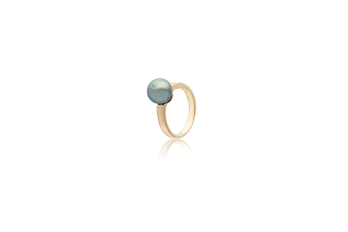 18K Gold Peacock South Sea Pearl Semi Round Ring