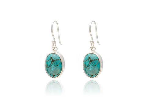Oval Silver Turquoise Earrings