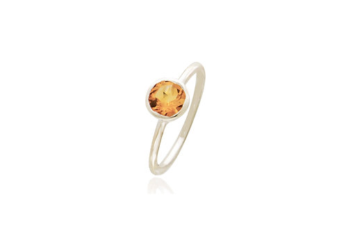 Sterling Silver Citrine Round Ring