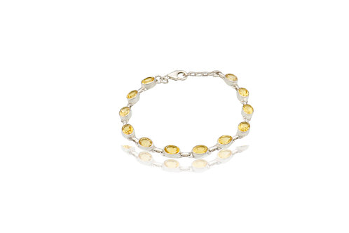 Sterling Silver Citrine Oval Bracelet