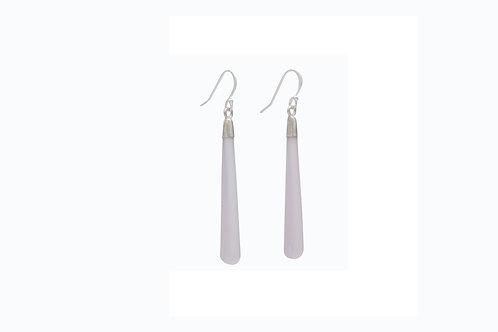 Sterling Silver Pink Quartz/CHAL Teardrop Earrings