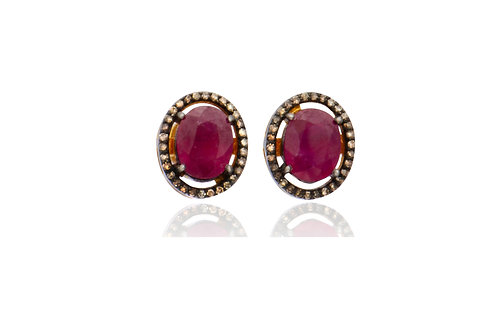 Sterling Silver Gold Plated Ruby Diamond Oval Stud Earrings