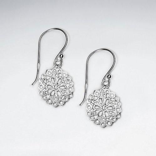 Filigree Sterling Silver Circle Drop Dangle Hook Earrings