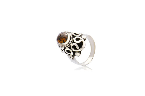 Mexican Silver Taxco Amber Oval Ring