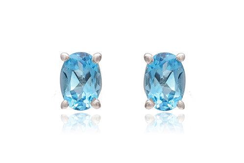 Silver Blue Topaz Stud Earrings (7x5mm)